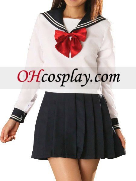 Rode strik Lange Mouwen Sailor Uniform Cosplay Kostuum