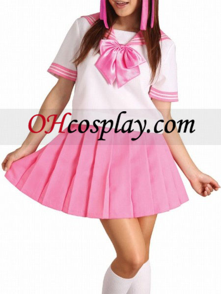 Roze strik Korte Mouwen School Uniform Cosplay Kostuum