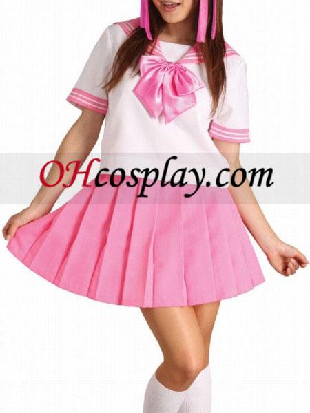 Pink Bowknot korte ærmer skoleuniform udklædning Kostume