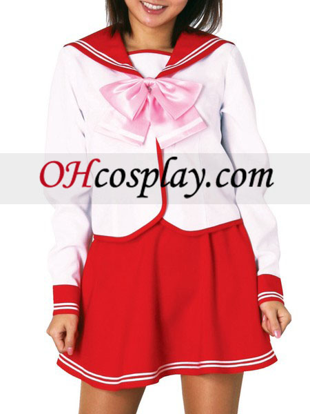 Red Skirt Long Sleeves School Uniform Cosplay Costume