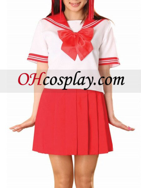 Red Skirt Short Sleeves Sailor Uniform Cosplay Costume