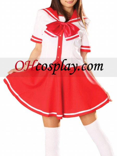 Red Skirt Short Sleeves School Uniform Cosplay Costume
