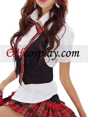 Zwart Vest Wit Korte Mouwen School Uniform Cosplay Kostuum