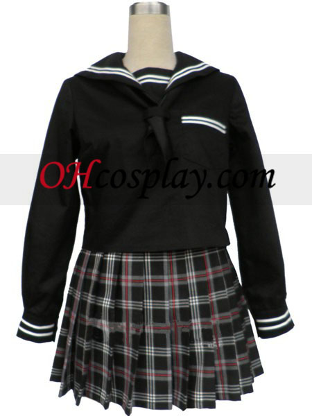 Black korta ärmar Grid Skirt Sailor Uniform Cosplay Kostym