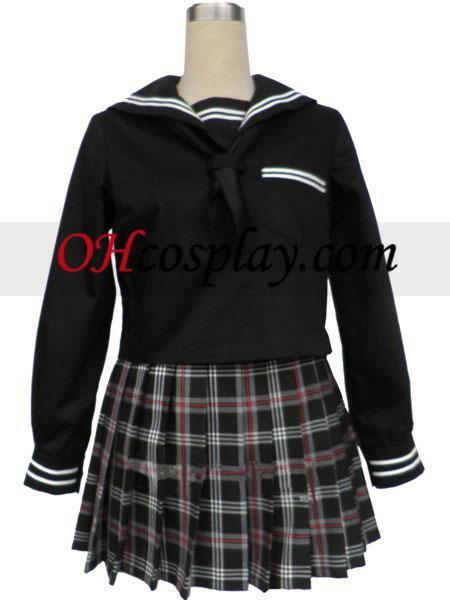 Black Short Sleeves Grid Nederdel Sailor Uniform udklædning Kostume