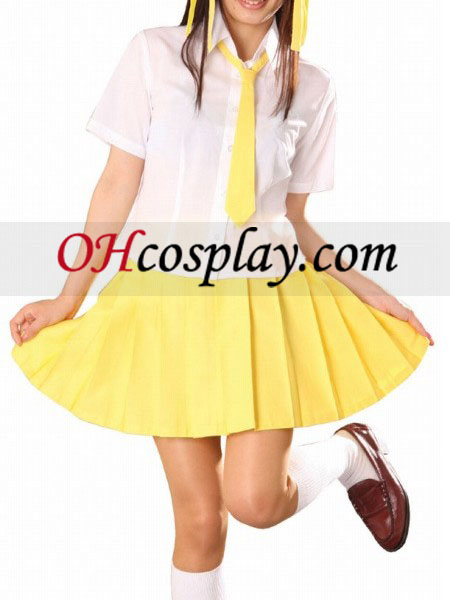 Manches courtes jaune Jupe School Uniform Costume Carnaval Cosplay Costume