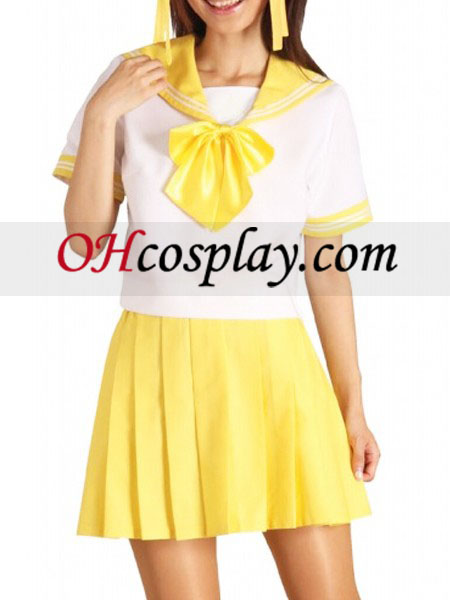 Geel Rok Korte Mouwen Sailor Uniform Cosplay Kostuum