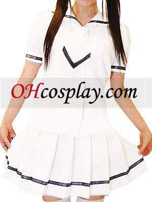 Kort Hvid Nederdel Cute Sleeves skoleuniform udklædning Kostume