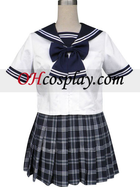 Royal Blue Short Sleeves Grid Skirt Sailor Uniform Cosplay Costume Australia