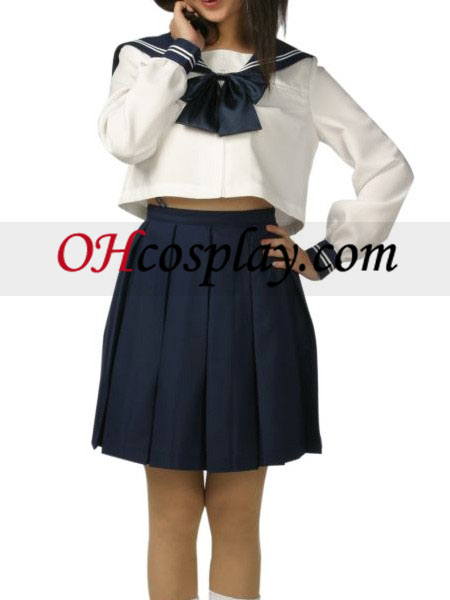 High waisted Short Sleeves Blue Skirt School Uniform Cosplay Costume