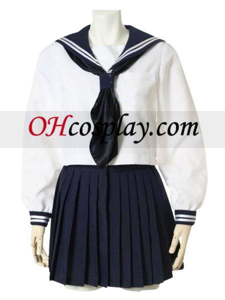 Blå Lange ærmer Sailorl Uniform udklædning Kostume