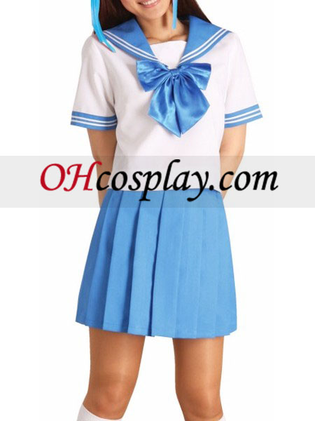 Blue Bowknot Short Sleeves School Uniform Cosplay Costume Australia