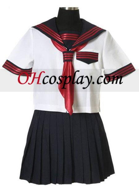 Saia Preta manga curta Sailorl uniforme Traje Cosplay