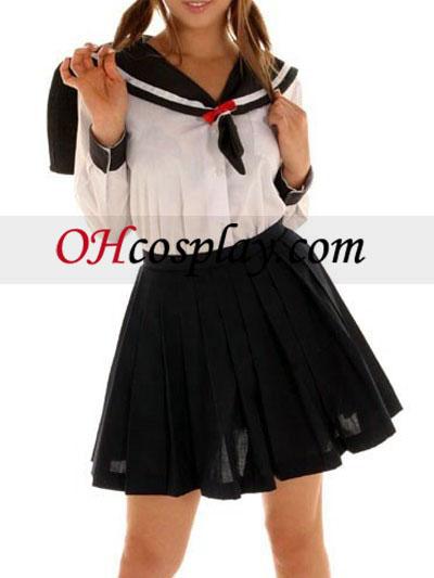 Saia Preta mangas longas uniforme de marinheiro Cosplay Traje