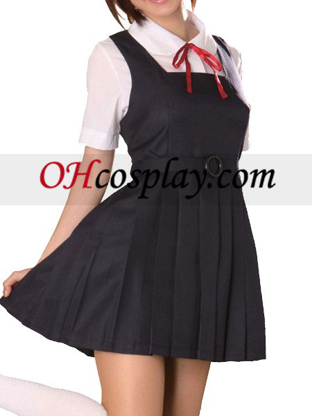 Black Dress Short Sleeves School Uniform Cosplay Costume