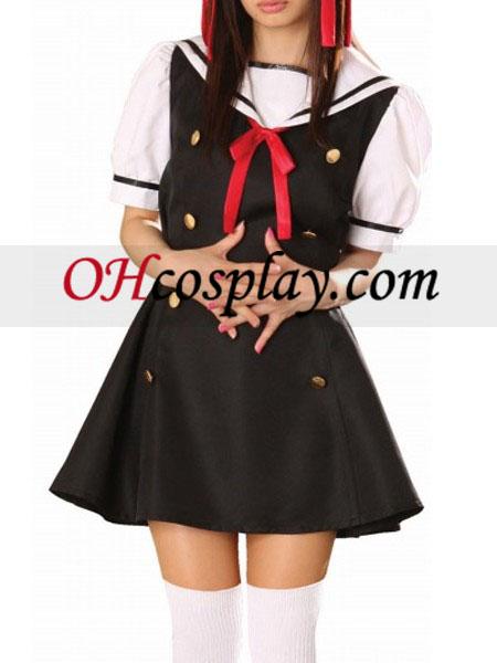 Črna obleka kratke rokave Sailorl enotne Cosplay kostumov