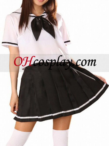 Black and additionally White Short Sleeves Sailor Uniform Cosplay Costume