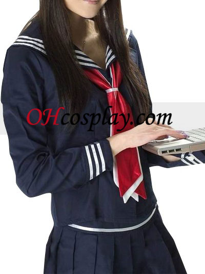 Blauw Lange Mouwen Sailor School Uniform Cosplay Kostuum