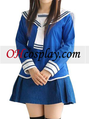 Blue Long Sleeves School Uniform Cosplay Costume Australia