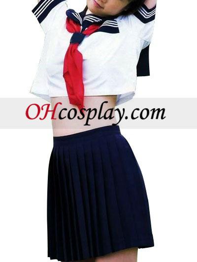Visoko vitka Deep Blue kratke rokave šolska uniforma Cosplay kostumov