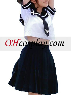 High waisted Deep Blue Short Sleeves Cute School Uniform Cosplay Costume