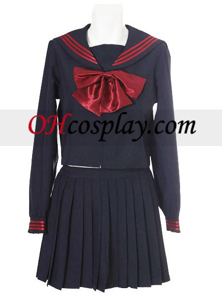 Deep Blue Red Bowknot Long Sleeves School Uniform Cosplay Costume