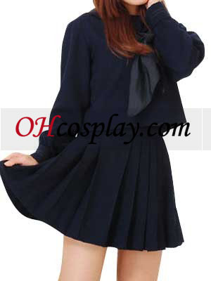 Deep Blue Long Sleeves Winter School Uniform Cosplay Costume