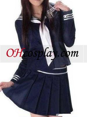 Deep Blue Lange ærmer skoleuniform udklædning Kostume