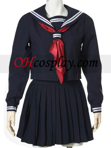Deep Blue Långärmat Sailor Uniform Cosplay Kostym