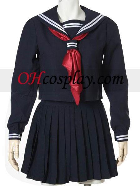 Deep Blue lange ærmer Sailor Uniform udklædning Kostume