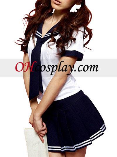 Deep Blue And White korte ærmer Sailor Uniform udklædning Kostume