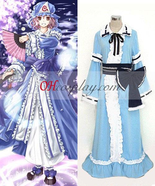 Touhou проект Saigyouji Yuyuko cosplay костюм