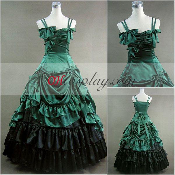 Grön Ärmlös Gothic Lolita Klänning