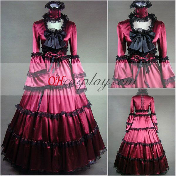 Red Long Sleeve Gothic Lolita Dress