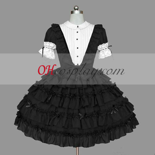 Black Gothic Lolita Dress Cosplay Gowns