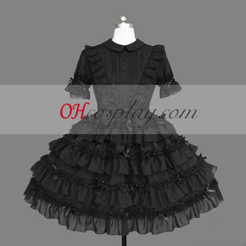 Black Gothic Lolita Cosplay Halloween Costume