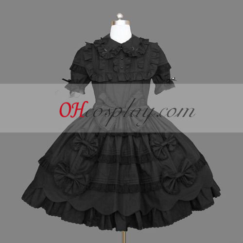 Black Gothic Lolita Dress Short Sleeves Gowns