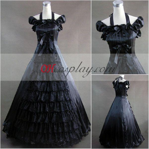 Svart Ermeløs gotiske Lolita kjole