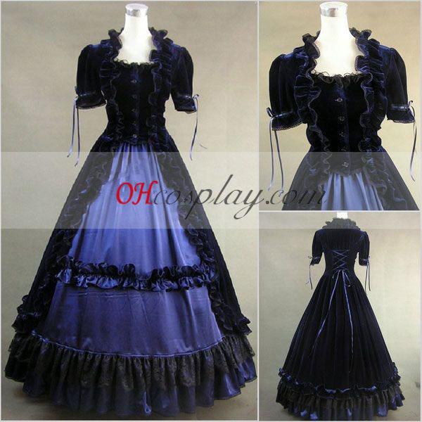 , Gemaakt van glanzend donkerblauw-zwart Korte Huls Gothic Lolita jurk