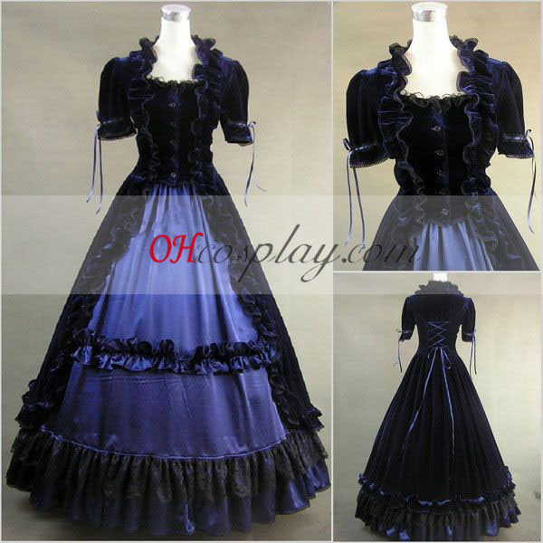 Blue-Black Short Sleeve Gothic Lolita Dress