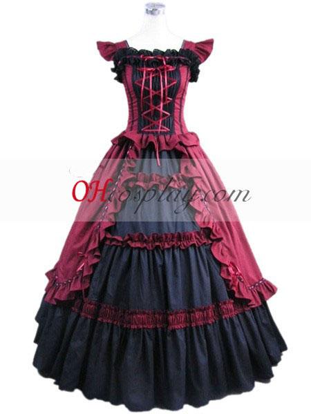 Κόκκινο παραγεμισμένου Γκόθικ φορεσιά η Lolita φωτογραφίσαμε