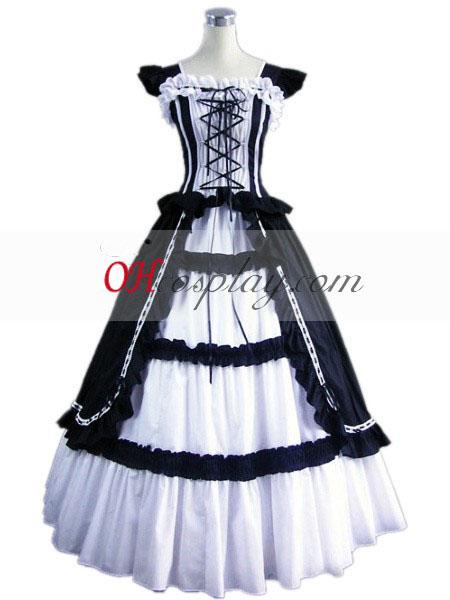 Azul escuro sem mangas vestido Gótico Lolita