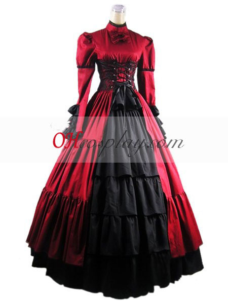 Maniche Lunghe Rosso vestito Gothic Lolita
