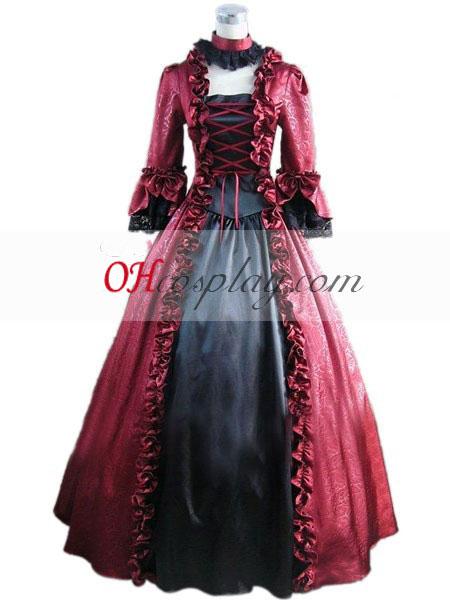 오랫동안 붉은 슬리브 드레스 고딕 로리타