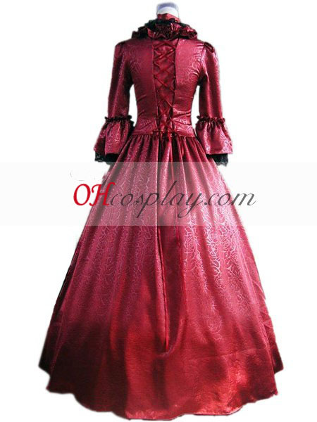 Rød langærmet Gothic Lolita Kjole