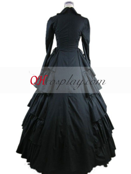 Langærmet Black Gothic Lolita Kjole