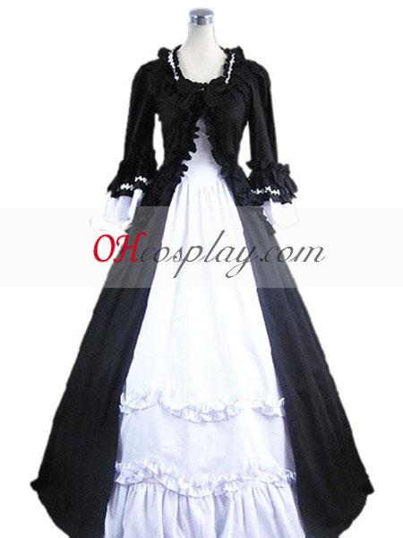 Black-White langærmet Gothic Lolita Kjole