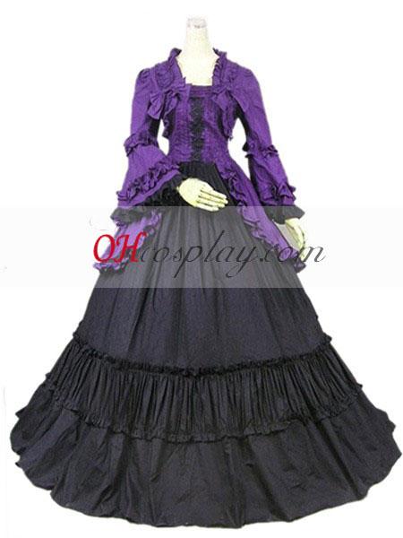 Лилав дълъг ръкав готските Лолита рокля