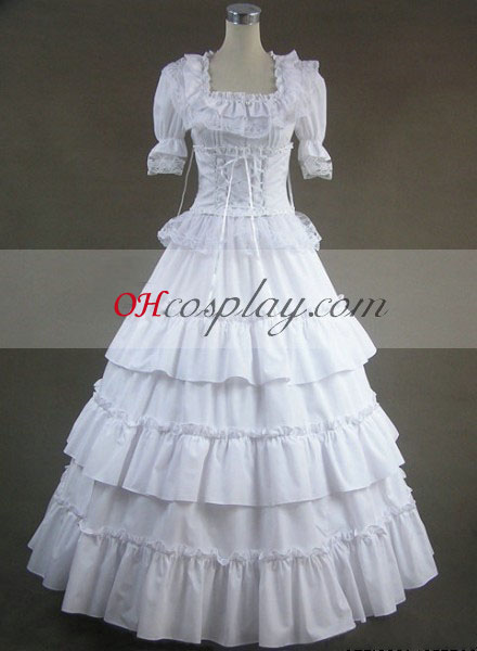 Hvid kortærmet Gothic Lolita Kjole