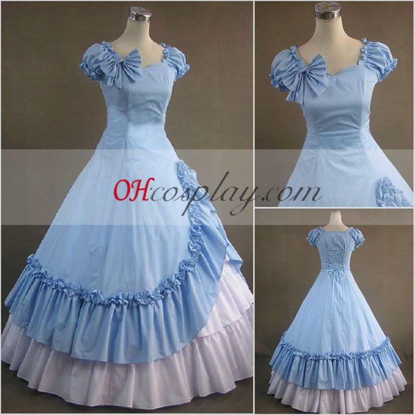 Modré bez rukávov gotický Lolita šaty